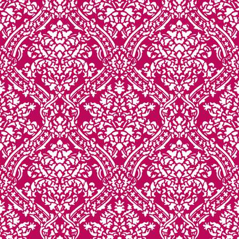 Windsor Damask ~ White on Cupid fabric by peacoquettedesigns on Spoonflower - custom fabric