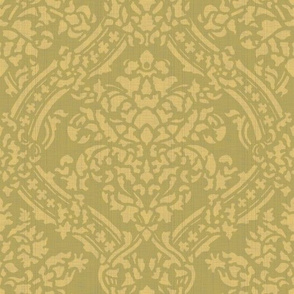 Windsor Damask ~ Provence ~Linen Luxe ~ Rococo Gold and Bayberry