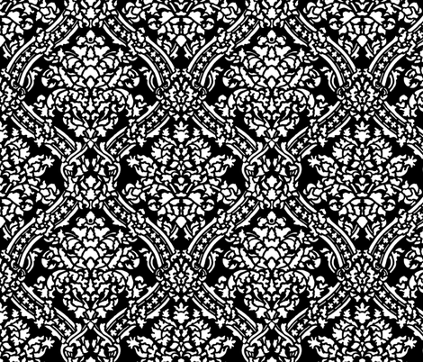 Windsor Damask ~ White and Black fabric by peacoquettedesigns on Spoonflower - custom fabric