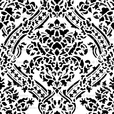Windsor Damask ~ Black and White