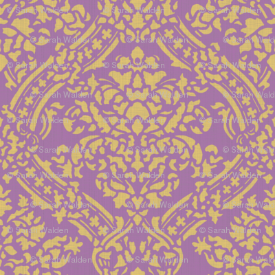 Windsor Damask ~ Provence ~Linen Luxe ~ Rococo Gold and Amaranthine Orchid