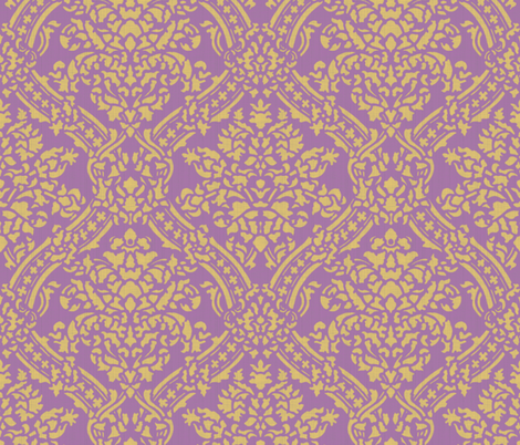 Windsor Damask ~ Provence ~Linen Luxe ~ Rococo Gold and Amaranthine Orchid fabric by peacoquettedesigns on Spoonflower - custom fabric