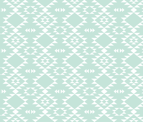 Navajo - Mint white fabric by kimsa on Spoonflower - custom fabric