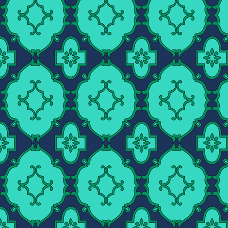 Arundhati in Turquoise fabric by horn&ivory on Spoonflower - custom fabric