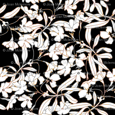 Floral Burnished Black and White