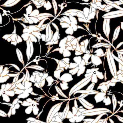Floral Burnished Black and White fabric by joanmclemore on Spoonflower - custom fabric