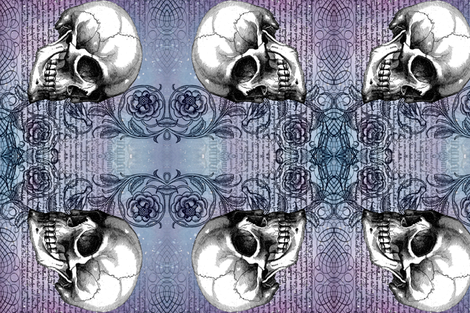 Skull rose, rotated fabric by jenithea on Spoonflower - custom fabric
