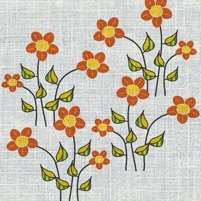 Big Orange Flowers on linen