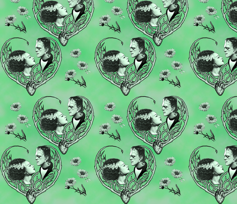We Were Made For Each Other - Green fabric by jenithea on Spoonflower - custom fabric
