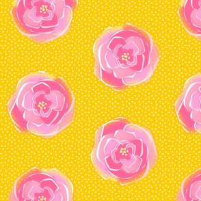 rose polka dots gold