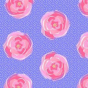 rose polka dots blue