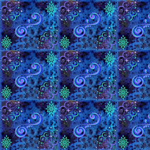 Blue/Purple Roses, Trellis's and Sparkly Stars ~