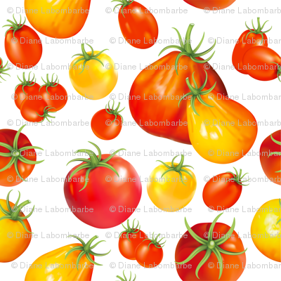 Summer Garden - Heirloom Tomatoes On White