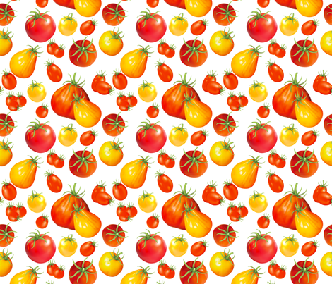 Summer Garden - Heirloom Tomatoes On White fabric by diane555 on Spoonflower - custom fabric