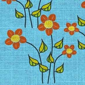 Orange Flowers on Blue Textured Field