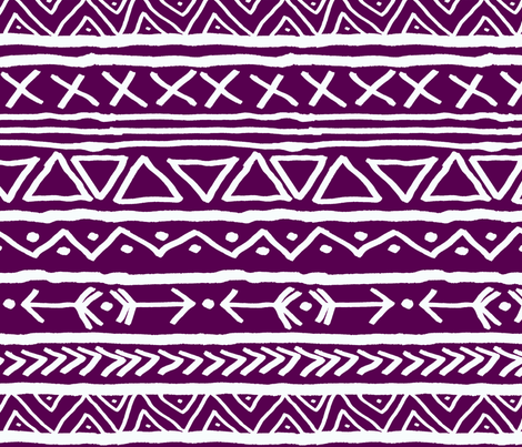 Tribal On Plum Large fabric by lintc on Spoonflower - custom fabric