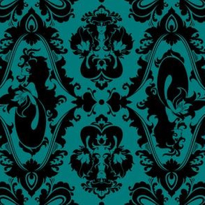 Mermaid Damask Teal and Black