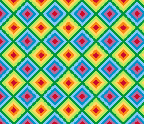 Rainbow Diamond Quilt Me! Border Fabric fabric by leah_day on Spoonflower - custom fabric