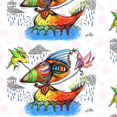 He always was an odd duck! colorful w/ white fabric by amy_g on Spoonflower - custom fabric