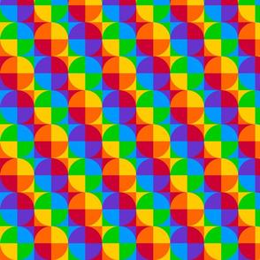 Retro Pride Rainbow Squares and Circles - Quartered
