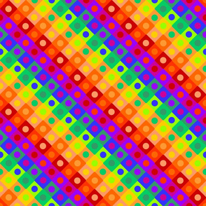 Rainbow Checkered with Circles