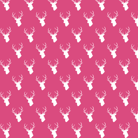 Hot Pink Deer Silhouette mini scale fabric by mrshervi on Spoonflower - custom fabric