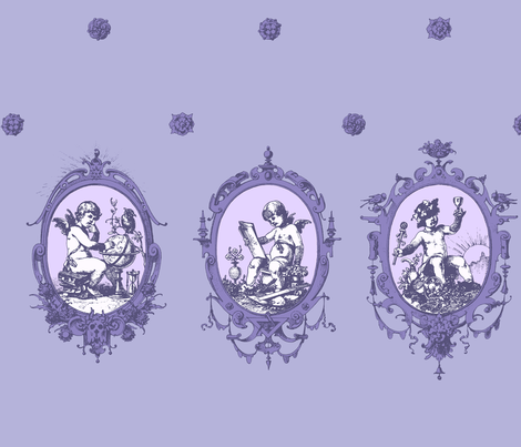 putti (violet) fabric by mossbadger on Spoonflower - custom fabric