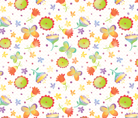 Home in the Summertime: florals - © Lucinda Wei fabric by lucindawei on Spoonflower - custom fabric