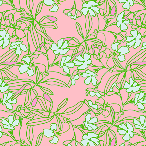 Garden Floral in pink fabric by joanmclemore on Spoonflower - custom fabric