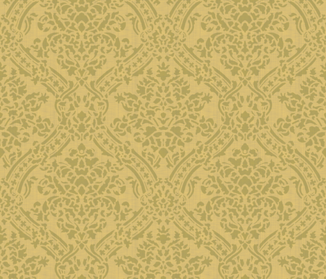 Windsor Damask ~ Provence ~ Linen Luxe ~ Bayberry and Rococo Gold fabric by peacoquettedesigns on Spoonflower - custom fabric
