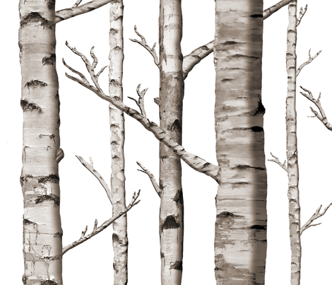 Birch Forest in Black and White fabric by willowlanetextiles on Spoonflower - custom fabric