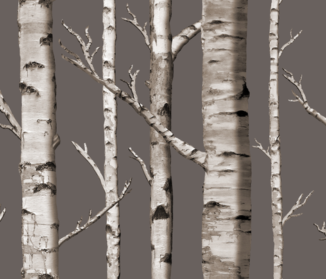 Birch Grove in Cashmere  fabric by willowlanetextiles on Spoonflower - custom fabric