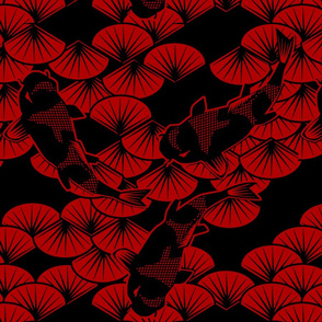 koi papercuts red black