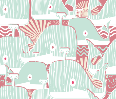 happy whales swim together fabric by chicca_besso on Spoonflower - custom fabric
