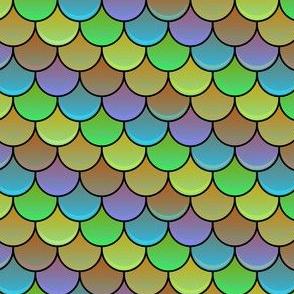 Rainbow Scallop - Muted Natural Tones - Reptile / Dragon / Snake / Fish / Lizard / Dinosaur / Mermaid