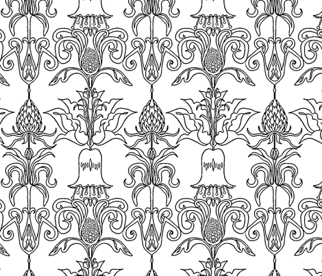 Flower Drawing fabric by linsart on Spoonflower - custom fabric
