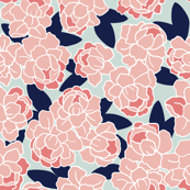 Peonies in Coral and Navy #2