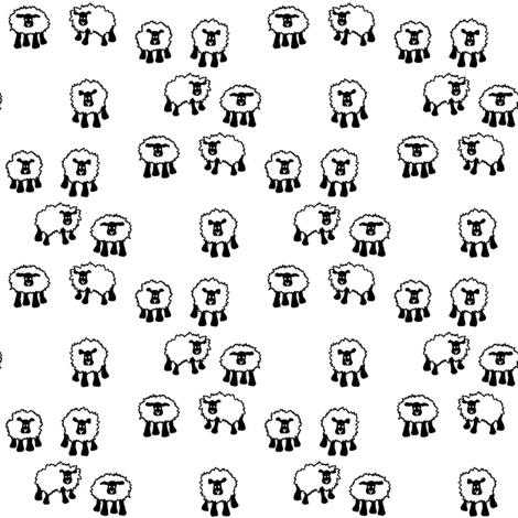 Sheep in Black and White fabric by beckarahn on Spoonflower - custom fabric