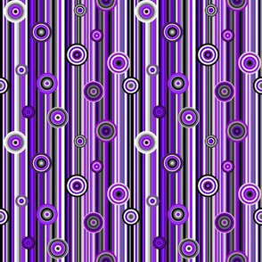 Ace Aware - Stripes and Bull's Eyes in Asexual Awareness Colors (Black, White, Gray, Purple)