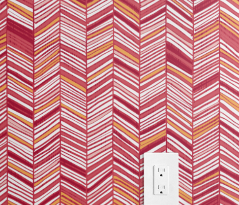 Herringbone Hues in Cranberry & White by Friztin