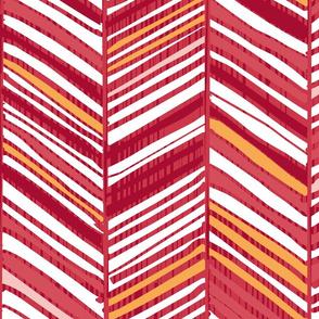 Herringbone Hues in Cranberry & White by Friztin