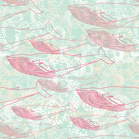 Whale Travelers in Pink fabric by rubydoor on Spoonflower - custom fabric