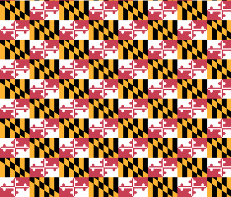 Small Maryland Flags - true color fabric by elramsay on Spoonflower - custom fabric