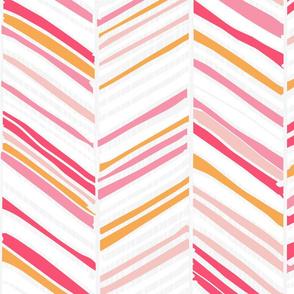 Herringbone Hues of Bubblegum Pink by Friztin