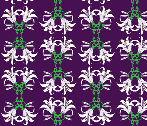 Easter Lillies on Purple fabric by kfrogb on Spoonflower - custom fabric