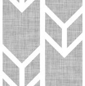 double chevron gray linen