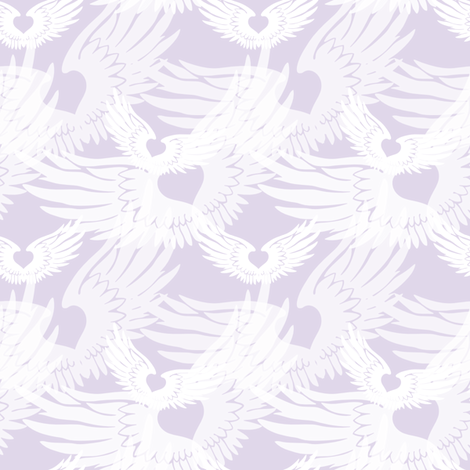 Heartwings II: Lavender and White (halfscale) fabric by penina on Spoonflower - custom fabric