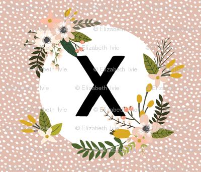 Blush Sprigs and Blooms Monogram Blanket // X
