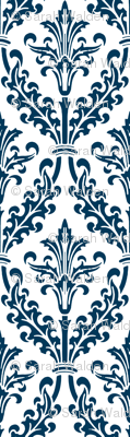 Divine Damask ~ White and Navy