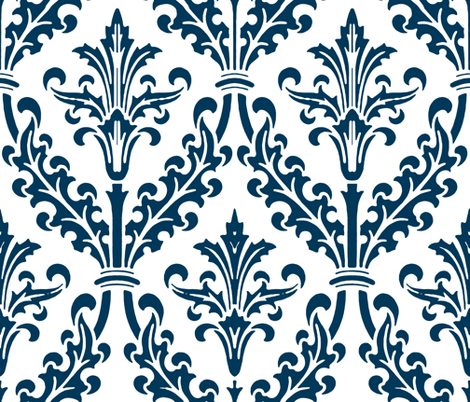 Divine Damask ~ White and Navy fabric by peacoquettedesigns on Spoonflower - custom fabric